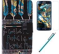 schwarzen Federn Design PU-Leder Ganzkörper-Fall mit Film und Kapazität Stift für Samsung-Galaxie großen prime G530