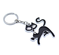 Refined And Elegant Black Cat Stainless Steel Keychain