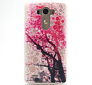 Pink Rree Pattern Relief TPU Soft Back Cover for LG G3