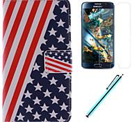 el diseño de la bandera americana de la PU cuero caso de cuerpo completo con el cine y la capacitancia de la pluma para la galaxia gran