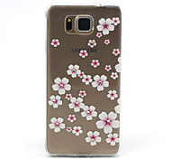 Samsung Galaxy Alpha G850F Compatible Pink Flowers with Diamante Design TPU Soft Back Cover Case