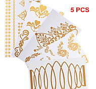 5PCS Necklace Bracelet Patterns Temporary Tattoos Sticker Gold Tattoos Flash Tattoos Party Tattoos