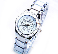 Women'sRound Dial Watch Fashion Business Imitation Ceramic Quartz Watch