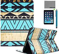 Coco Fun® azul del trullo modelo tribal de la PU del caso del soporte del tirón del cuero con protector de pantalla y el stylus para Apple
