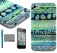 COCO FUN® Circle Tribal Pattern Soft TPU Back Case Cover with Screen Protector and Stylus for iPhone 4/4S