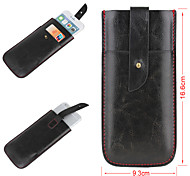 Solid Color Simply Style Genuine Leather Full Body Mobile Phone Bags with Buckle for iPhone 6 Plus