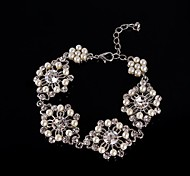 Vintage Luxurious Round Diamond Pearl Flower Silver Bracelet For Women Lades Bridal Birthday GIft Party Wedding