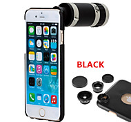 Apexel  4 in 1 Screw-in 8X Telephoto Lens /Fisheye Lens/Wide Angle & Macro Lens Kit with Black Back Case for iPhone 6