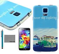 patrón bus animales de coco Fun® suave tpu caso con protector de pantalla y el stylus para i9600 Samsung Galaxy S5