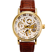Men's Watch Mechanical Hand Wind Hollow Engraving Leather Strap
