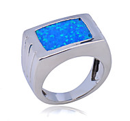 High Quality Fashion Square Type Platinum Zircon Water Blue Opal Ring
