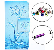 Water Flower Pattern PU Leather Case with Stylus and Dust Plug for Alcatel One Touch Pop C7