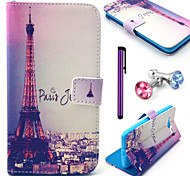 Signature Eiffel Tower Pattern PU Leather Case with Anti-dust Plug and Stylus for Samsung Galaxy Grand Prime G530H