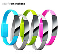 Universal 22cm Bracelet Micro Wrist Band Magnetic to USB 2.0 Flat Noodle Cable for Andriod Samrt Phone