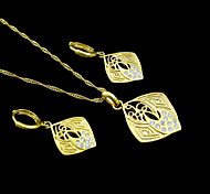 18K Real Gold Plated Necklace+Earrings Jewelry Set
