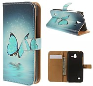 Blue Butterfly Pattern Wallet Card PU Case with Stand for Huawei Ascend Y550