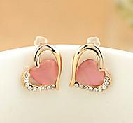 High Quality Diamond   Lovely Stone Heart Earrings  #12-1