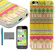 COCO FUN® Orange Floral Tribal Pattern Soft TPU Back Case Cover with Screen Protector and Stylus for iPhone 5C