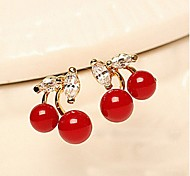 Fashion  Cute Zirconia  Red Cherry Earrings 4-1