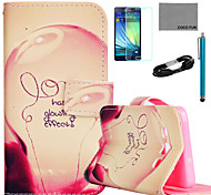 COCO FUN® Love Lamp Pattern PU Leather Case with Film and USB Cable and Stylus for Samsung Galaxy A7