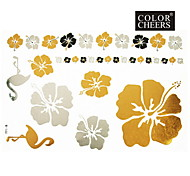 1Pc Gold Silver Black Flowers Tattoo Sticker 23x15.5CM Good Duality