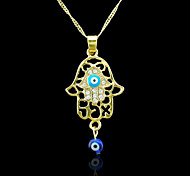 18K Real Gold Plated Hamsa Hand Of Fatima Evil Eye Crystal Hollow Out Zircon Pendant 2.3*4.7CM