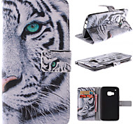 White Tiger Design PU Leather Full Body Case with Stand and Card Slot for HTC One M9