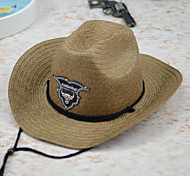 Unisex Casual Summer Woven Cowboy Cowgirl Linen/Straw Floppy Hat