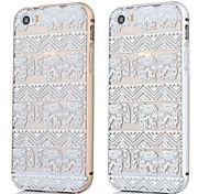 struttura in metallo + modello tappeto elefante backplane caso della copertura posteriore per iPhone 5 / 5s (colori assortiti)