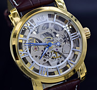 Classic Skeleton Hollow Mechanical Self Wind Watch Brand Design Auto-Mechanical Watches Men Leisure Leather Clock