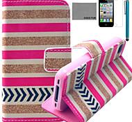 Coco Fun® modelo rojo pie blanco estuche de cuero pu con protector de pantalla y el stylus para el iphone 4 / 4s