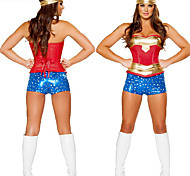 Deluxe Wonder Woman Golden & Blue Polyester Women's Halloween Party Costume