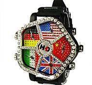 quadrante bandierina unisex grande quadrante cinque tempo orologio da polso al quarzo zona (colori assortiti)