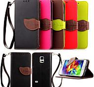 Для Кейс для  Samsung Galaxy Бумажник для карт / со стендом Кейс для Чехол Кейс для Один цвет Искусственная кожа SamsungS5 Mini / S4 Mini