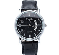 2015 Mens Simple Generous Business Watches with Date Display PU Leather Band Quartz Watches.