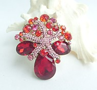 Women Accessories Gold-tone Pink Red Rhinestone Crystal Starfish Brooch Bouquet Art Deco Women Jewelry Mermaid
