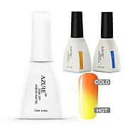 azur 3 pièces / lot ongles gel température caméléon bricolage ongles vernis pour tremper hors gel uv ongles (# 01 + base + haut)