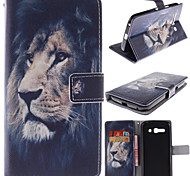 The Lion Face Design PU Leather Case with Magnetic Snap and Card Slot for Alcatel One Touch Pop C9