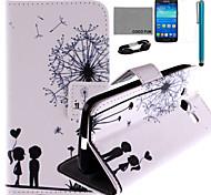 patrón de diente de león amor caja de cuero de la PU de coco Fun® con protector de pantalla y el stylus para samsung galaxy núcleo g386f