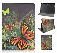 Yellow Butterfly Patterns PU Leather Full Body Case with Card Slot for Asus Memo Pad 10 ME103K