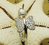 7a-d0174 joli papillon cz base de bague réglable pour perles (1pcs / lot)