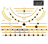 1Pc Gold And Black Long Bracelet And Necklace Tattoo Sticker 23x15CM
