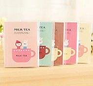 Cute Milk Tea Pattern With Plastic Cover Notebook (Random Color)