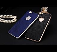 mayor venta de cuero de lujo delgada cubierta de la caja con el logotipo del agujero para el iphone 6 (colores surtidos)