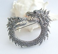 Women Accessories Vintage Gray Rhinestone Crystal Dragon Brooch Art Deco Crystal Brooch Pin