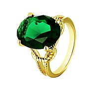 Fashion Atmosphere Diamante Green-Circular Multicolor Gold-Plated Statement Rings(Golden,Rose- Gold,Green)(1Pcs)