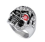 Toonykelly® Fashionable Antique Silver Stainless Steel Skull Skeleton Unadjustable Ring(1pcs)