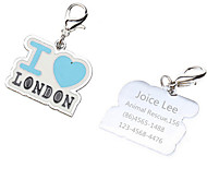 Personalized Free Engraving I Love London Style Dog ID Tag for Pet(Assorted Colors)