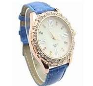 Fashion CZ Diamond Leather Watchband Wristwatch(Blue)(1Pc)