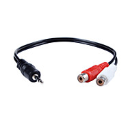 3.5mm Male Stereo Audio to Dual Female RCA Splitter Cable 30cm 6 Inch